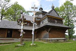 The wooden Church of the Ascension in Yasinya, Transcarpathia, Ukraine, July 2103. - Will Watson