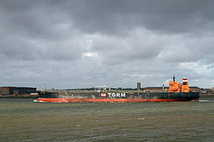 Oil Tanker, 'MT Torm Valberg' leaving Liverpool, River Mersey, Merseyside, United Kingdom, May 2013. All non-editorial uses must be cleared individually. - Graham  Brazendale