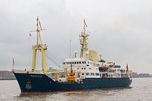 "Trinity House�s Multi Functional Tender (MFT) Patricia in position on the River Mersey to ""take the salute"" as the visiting warships leave Liverpool, at the conclusion of the Battle of the Atlantic 70...  -  Graham  Brazendale"