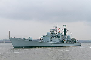 HMS Edinburgh exits the River Mersey, as she leaves Liverpool at the conclusion of the Battle of the Atlantic 70th Anniversary commemorations (BOA70). Merseyside, United Kingdom, May 2013. All non-edi...  -  Graham  Brazendale