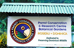 Sign for Parrot Conservation and Research Centre, which conserves two endemic species of parrot the Imperial amazon (Amazona imperialis) and the Red-necked Amazon (Amazona arausiaca) Roseau, Dominica,...  -  Roland  Seitre