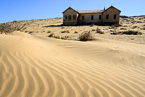 Abandoned house in sand dunes. Kolmanskop Ghost Town, an old diamond-mining town where shifting sand dunes have encroached abandoned houses, Namib Desert Namibia, October 2013.  -  Enrique Lopez-Tapia