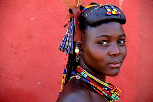 Ovakahaona woman with ostrich feather and ornaments in hair, Okongwati village, Kaokoland, Namibia, September 2013.  -  Enrique Lopez-Tapia