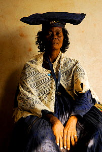 Herero woman in traditional dress - influenced by Victorian missionaries, Kaokoland, Namibia. February 2005 - Enrique Lopez-Tapia