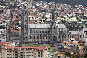 View of Basilica of the National Vow, seen Itchimbia Centro Cultural.  Quito, Ecuador, August 2010.  -  Michele  Westmorland