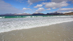 View from Traigh Rosamol beach towards the North Harris mountains, Isle of Harris, Outer Hebrides, Scotland, UK, April 2012.  -  Peter  Cairns / 2020VISION