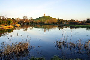Burrow Mump and its ruined hilltop church near Burrowbridge. In the foreground a swollen River Parrett on the right is joined by the River Tone on the left. Somerset Levels, Somerset, UK. January 2014... - John Waters