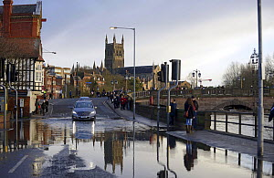 View of Worcester Cathedral with flooded road in the foreground, Worcester, England, UK, February 2014.  -  Will Watson