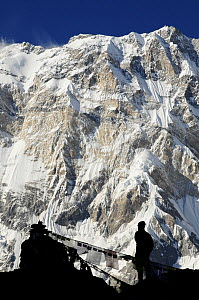 Mount Annapurna I (8091m) from base camp, with hiker and prayer flags silhouetted, Annapurna Sanctuary, central Nepal, November 2011.  -  Enrique Lopez-Tapia