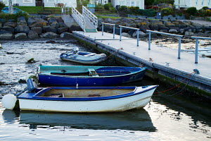 Small boats docked on River Teifi at St. Dogmaels, Wales, UK. September 2013. All non-editorial uses must be cleared individually. - Norma  Brazendale