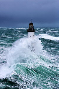 Rough seas at d'Ar-Men lighthouse during Storm 'Ruth', Ile de Sein, Armorique Regional Park. Iles du Ponant, Finistere, Brittany, France, Iroise Sea. 8th February 2014.  France, Bretagne, Finistere, M... - Benoit  Stichelbaut