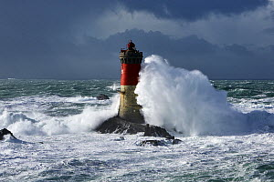 Rough seas at Pierres-Noires lighthouse during Storm 'Ruth', Le Conquet, Armorique Regional Park, Finistere, Brittany, France, Iroise Sea. 8th February 2014.~~France, Bretagne, Finistere, Mer d'Iroise...  -  Benoit  Stichelbaut