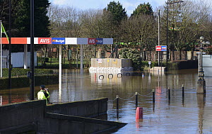 Electricity sub station under threat from flooding, Hylton Road, St. John's, Worcester, England, UK, 13th February 2014. - Will Watson
