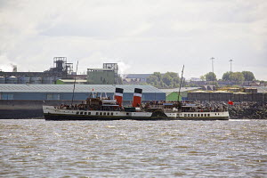 The Glasgow based paddle steamer, PS 'Waverley', on a pleasure trip to the Isle of Anglesey, River Mersey, Liverpool, Merseyside, United Kingdom, June 2013. All non-editorial uses must be cleared indi... - Graham  Brazendale