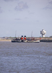 The Glasgow based paddle steamer, PS 'Waverley', on a pleasure trip to the Isle of Anglesey, River Mersey, Liverpool, Merseyside, United Kingdom, June 2013.  All non-editorial uses must be cleared ind... - Graham  Brazendale