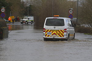 Van used as rescue vehicle during February 2014 flooding, Upton upon Severn, Worcester, England, UK, 9th February 2014.  -  David  Woodfall