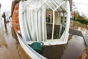 Fish eye view of conservatory of flooded house, showing water inside and outside, during the February 2014 floods, Upton upon Severn, Worcestershire, England, UK, 9th February 2014. - David  Woodfall