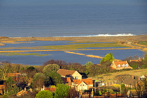 View over flooded grazing marsh and breached shingle coastal defense after the 6 December east coast tidal surge, with the village of Salthouse in the foreground, Norfolk, England, UK, December 2013. - Gary  K. Smith