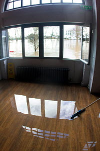 Flooded interior of wine bar / restaurant during clear up after February 2014 floods, Worcester, England,  UK, 10th February 2014.  -  David  Woodfall