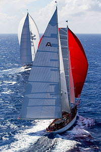 Mega yachts racing in the 2013 St. Barths Bucket Regatta, Caribbean, March 2013. All non-editorial uses must be cleared individually.  -  Onne van der Wal
