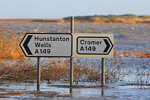 Road directions signs on flooded roads near Salthouse, Norfolk, England, UK, December 2013. - Robin Chittenden