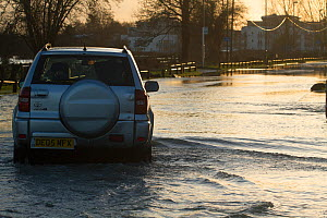 4x4 driving through February 2014 floods from River Thames, Chertsey, Surrey, England, UK, 16th February 2014. - David  Woodfall