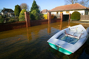 Boat tethered outside flooded home in February 2014 floods of River Thames, Wraysbury, Surrey, England, UK. 16th February 2014.  -  David  Woodfall