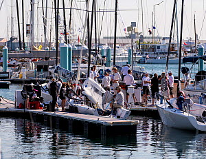 Sail boats in a busy marina during 2013 Key West Race Week, Florida. All non-editorial uses must be cleared individually.  -  Onne van der Wal