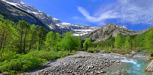 River flowing from the Cirque de Gavarnie, Pyrenees National Park, France, June 2013.  -  Robert  Thompson