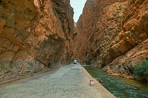 The Dades Gorge road passing between steep rock faces next to river, Morocco, March 2011. - Ernie  Janes