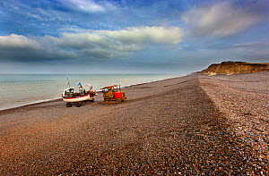 Tractor pulling crab boat up Weybourne beach, Norfolk, UK, October 2013.  -  Ernie  Janes