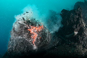 Hot lava from Kilauea Volcano erupting underwater as pillow lava, offshore from Hawaii Volcanoes National Park, Puna, Hawaii,Hawaiian Islands, USA. 20th January 2013. - Doug Perrine