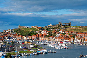 View of Whitby harbour showing the Church of St. Mary and Whitby Abbey, Yorkshire, England, UK, September 2013. - Gary  K. Smith