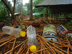 Non biodegradable rubbish in abandoned forest camp. Lokoue, Odzala-Kokoua National Park, Republic of Congo, May 2004.  -  Jabruson