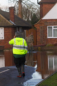 Environment Agency, Army and council officials assisting flooded residents after February 2014 flood from River Thames. Chertsey, Surrey, England, UK, 16th February 2014.  -  David  Woodfall