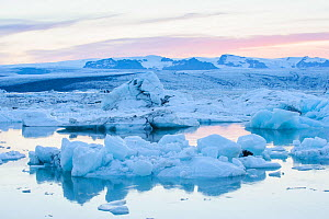 End of the Vatnajokull glacier melting into Jokulsarlon glacial lake, Iceland, July 2012.  -  Terry  Whittaker
