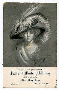 Promotional card promoting Mary Lehr Millinery in the US from 1900-1910s. Illustration depicts Egret plumes in hat.  -  David Tipling