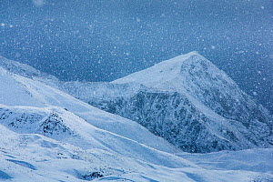 Snowfall over summits of east Caucasus near Saribash settlement, Gakh area, Azerbaijan, December 2012.  -  Dr.  Axel Gebauer
