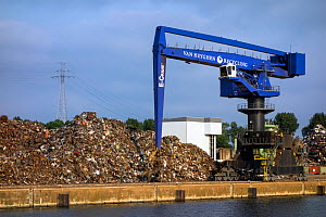 Dock crane and heap of scrap metal for recycling, Port of Ghent, Belgium, July 2013. - Philippe Clement
