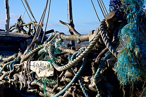 Close up of shipwreck of 'pirate ship' 'Grace Darling'. The ship was created and built on the rocks near the Hoylake lifeboat station. The ship is constructed mostly of driftwood and rubbish washed up... - Norma  Brazendale