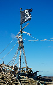 Skull and Crossbones flag tied to the mast of shipwreck of 'pirate ship' 'Grace Darling'. The ship was created and  built on the rocks near the Hoylake lifeboat station. Constructed mostly of driftwoo... - Norma  Brazendale