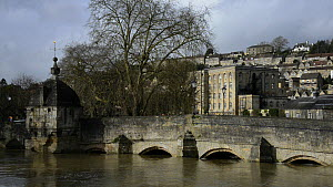 View of the River Avon in spate at Bradford on Avon, Wiltshire, England, UK, February 2014.  -  Nick Upton