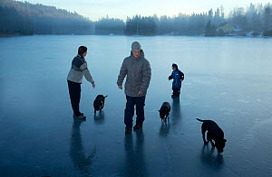Family with dogs on newly frozen ice, Akershus, Norway, December 2012. - Pal Hermansen