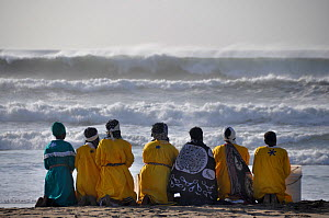 Traditional healers praying on Durban beach, KwaZulu-Natal, South Africa, August 2009. - Rhonda Klevansky