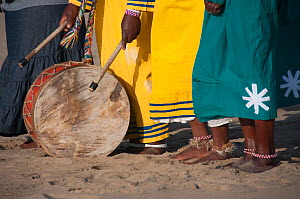 Drum on ground being played by a traditional healer during an early morning baptism, Durban beach, KwaZulu Natal, South Africa, August 2009. - RHONDA KLEVANSKY