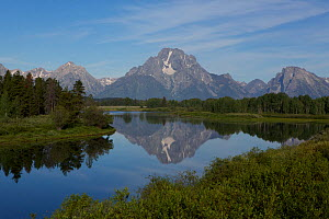 The Tetons reflected in the Oxbow Bend of the Snake River, Wyoming  -  Mark  MacEwen