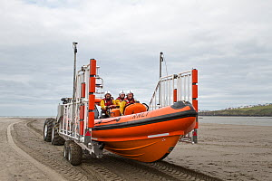 Cardigan volunteer lifeboat crew busy recovering their new Atlantic 85 lifeboat, Albatross, newly arrived on the station. Cardigan Lifeboat station is situated at Poppit Sands on the southern side of... - Graham  Brazendale