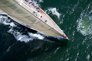 Aerial view of crew hiking out aboard the yacht Selene racing in the Newport Bucket, Rhode Island, USA, July 2009.  -  Billy  Black