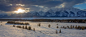 Teton range at sunset in winter, seen from Jackson Hole Valley, Grand Teton National Park, Wyoming, USA, February 2013.  -  Peter Cairns