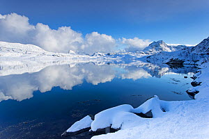 Winter landscape reflected in fjord, Lofoten Islands, Norway, March 2013. - Peter Cairns